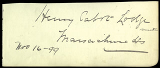 HENRY CABOT LODGE SR. - AUTOGRAPH 11/16/1899 CO-SIGNED BY: NELSON W. ALDRICH