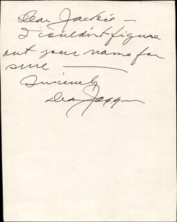 DEAN JAGGER - AUTOGRAPH NOTE SIGNED
