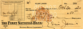ELSIE JANIS - AUTOGRAPHED SIGNED CHECK 10/30/1930