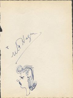 UTA HAGEN - SELF-CARICATURE SIGNED CO-SIGNED BY: HELEN JEPSON