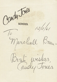 CANDY JONES - AUTOGRAPH SENTIMENT SIGNED 12/05/1961