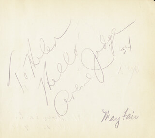 ARLINE JUDGE - AUTOGRAPH NOTE SIGNED 1934