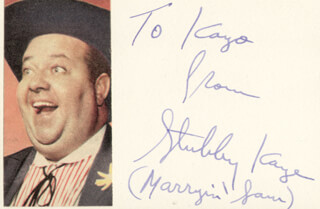 STUBBY KAYE - AUTOGRAPH NOTE SIGNED