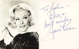 JANE KEAN - AUTOGRAPH NOTE SIGNED
