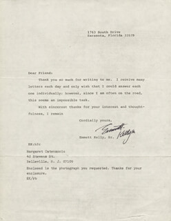 EMMETT KELLY SR. - TYPED LETTER SIGNED