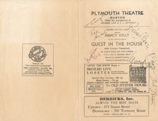 GUEST IN THE HOUSE PLAY CAST - PROGRAM SIGNED CO-SIGNED BY: LOUISE CAMPBELL, NANCY KELLY, FRED HOWARD, RICHARD BEACH, TEMPLETON FOX, J. ROBERT BRETON