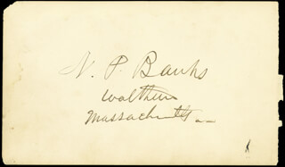 MAJOR GENERAL NATHANIEL P. BANKS - AUTOGRAPH