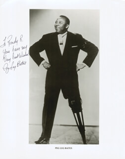 CLAYTON PEG LEG BATES - AUTOGRAPHED INSCRIBED PHOTOGRAPH