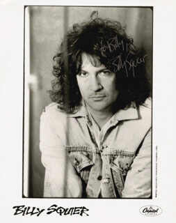 BILLY SQUIER - INSCRIBED PRINTED PHOTOGRAPH SIGNED IN INK