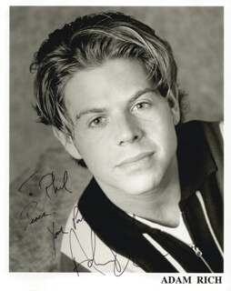 ADAM RICH - AUTOGRAPHED INSCRIBED PHOTOGRAPH