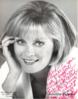 JENNIFER HOLMES - AUTOGRAPH NOTE ON PHOTOGRAPH SIGNED