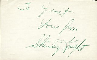 SHIRLEY KNIGHT - AUTOGRAPH NOTE SIGNED