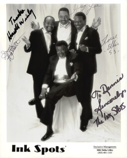 THE INK SPOTS - AUTOGRAPHED INSCRIBED PHOTOGRAPH 1993 CO-SIGNED BY: THE INK SPOTS (SONNY HATCHETT), THE INK SPOTS (ELLIS SMITH), THE INK SPOTS (HAROLD WINLEY), INK SPOTS, THE (GREG LEE)