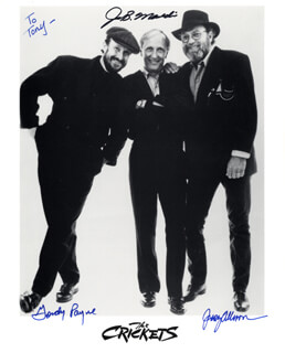 THE CRICKETS - AUTOGRAPHED INSCRIBED PHOTOGRAPH CO-SIGNED BY: THE CRICKETS (GORDON PAYNE), THE CRICKETS (JERRY ALLISON), THE CRICKETS (JOE B. MAULDIN)