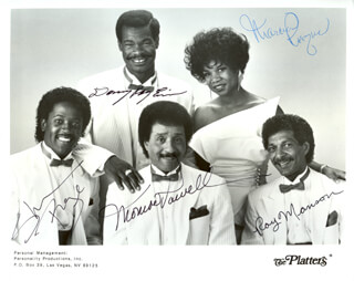THE PLATTERS - PRINTED PHOTOGRAPH SIGNED IN INK CO-SIGNED BY: THE PLATTERS (MONROE POWELL), THE PLATTERS (RAY MANSON), THE PLATTERS (MARCIA RAQUEL ROBINSON), THE PLATTERS (SHERMAN RAY), THE PLATTERS (DONNY RAY EVINS)