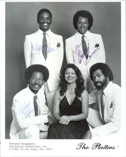 THE PLATTERS - AUTOGRAPHED SIGNED PHOTOGRAPH CO-SIGNED BY: THE PLATTERS (LABUOY BLAKE), THE PLATTERS (DAVID BACARR), THE PLATTERS (OTIS HEMBRE), THE PLATTERS (FELICIA HERNANDEZ)