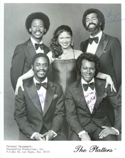 THE PLATTERS - AUTOGRAPHED SIGNED PHOTOGRAPH CO-SIGNED BY: THE PLATTERS (GENE WILLIAMS), THE PLATTERS (LABUOY BLAKE), THE PLATTERS (DAVID BACARR), THE PLATTERS (FELICIA HERNANDEZ)