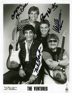THE VENTURES - AUTOGRAPHED SIGNED PHOTOGRAPH CO-SIGNED BY: THE VENTURES (MEL TAYLOR), THE VENTURES (GERRY MCGEE), THE VENTURES (GARY WOOD)