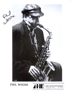 PHIL WOODS - PRINTED PHOTOGRAPH SIGNED IN INK