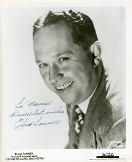 TED WEEMS ORCHESTRA (ELMO TANNER) - AUTOGRAPHED INSCRIBED PHOTOGRAPH