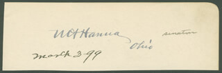 MARCUS A. HANNA - AUTOGRAPH CIRCA 1899 CO-SIGNED BY: MAJOR JOSEPH D. SAYERS