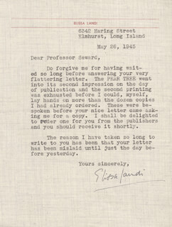 ELISSA LANDI - TYPED LETTER SIGNED 05/26/1945