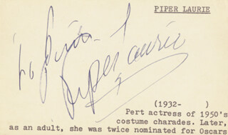 PIPER LAURIE - INSCRIBED SIGNATURE