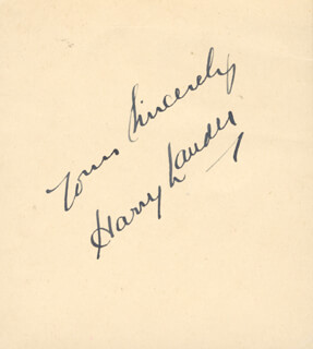 SIR HARRY M. LAUDER - AUTOGRAPH SENTIMENT SIGNED