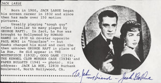 JACK LA RUE - BIOGRAPHY SIGNED
