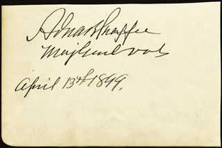 Autographs: LT. GENERAL ADNA R. CHAFFEE - SIGNATURE(S) 04/13/1899 CO-SIGNED BY: ALEXANDER S. CLAY