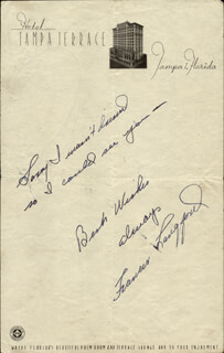 FRANCES LANGFORD - AUTOGRAPH NOTE SIGNED