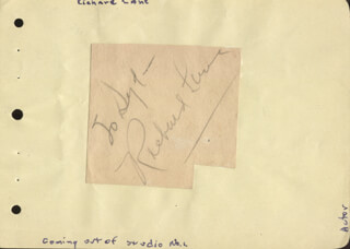 RICHARD DICK LANE - INSCRIBED SIGNATURE