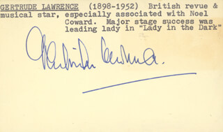 GERTRUDE LAWRENCE - AUTOGRAPH