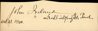 Autographs: JOHN IRELAND - SIGNATURE(S) 10/21/1900 CO-SIGNED BY: REDFIELD PROCTOR