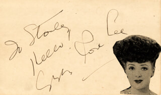 GYPSY ROSE LEE - AUTOGRAPH NOTE SIGNED