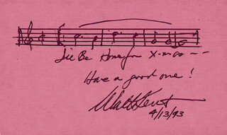 WALTER KENT - AUTOGRAPH MUSICAL QUOTATION SIGNED 04/13/1993