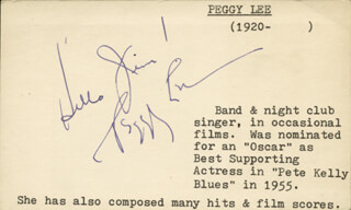 PEGGY LEE - PRINTED CARD SIGNED IN INK