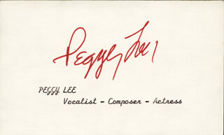PEGGY LEE - AUTOGRAPH