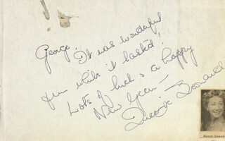 QUEENIE LEONARD - AUTOGRAPH NOTE SIGNED