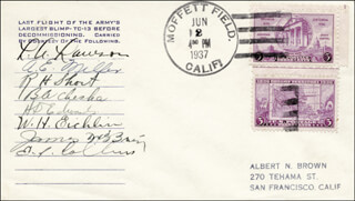 L. A. LAWSON - FIRST DAY COVER SIGNED CO-SIGNED BY: A. E. MILLER, R. H. SHORT, B. A. CHESHA, H. D. EDWARDS, W. H. EICHLIN, E. I. COLLINS