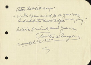 THORNTON W. BURGESS - AUTOGRAPH QUOTATION SIGNED 11/15/1944