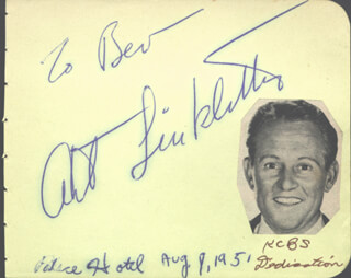 ART LINKLETTER - INSCRIBED SIGNATURE CIRCA 1951