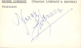 GEORGE LIBERACE - PRINTED CARD SIGNED IN INK
