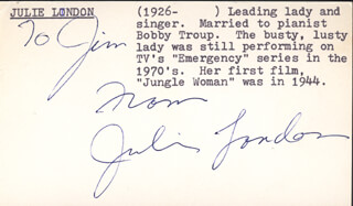 JULIE LONDON - INSCRIBED SIGNATURE