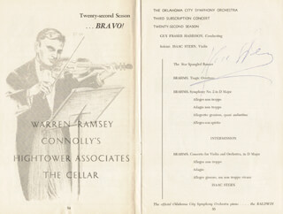 Autographs: ISAAC STERN - PROGRAM SIGNED