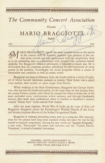 MARIO BRAGGIOTTI - PROGRAM SIGNED