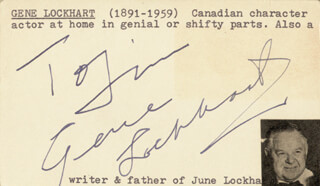 GENE LOCKHART - INSCRIBED CARD SIGNED