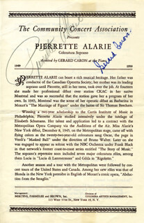Autographs: PIERRETTE ALARIE - PROGRAM SIGNED CO-SIGNED BY: GERARD CARON
