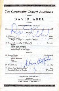 Autographs: DAVID ABEL - PROGRAM SIGNED CO-SIGNED BY: SIDNEY STAFFORD