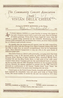 VIVIAN DELLA CHIESA - PROGRAM SIGNED CO-SIGNED BY: EDWIN McDONELL